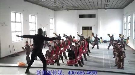 新鼓源威风锣鼓教练训练山西五台县某部队锣鼓队现场