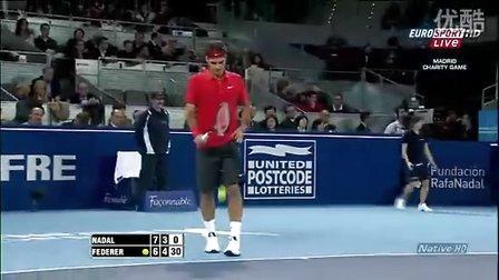 [开心看]2010费德勒纳达尔在马德里慈善赛 费德勒连续吊4个网前小球
