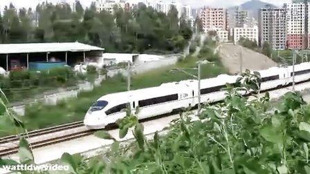 8月12日广深港高铁试车CRH3开出深圳北站