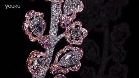 格拉夫粉红钻和白钻花朵造型胸针