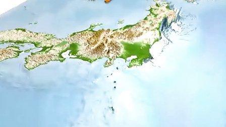 日本宫城地震 - 海啸3D模拟动画