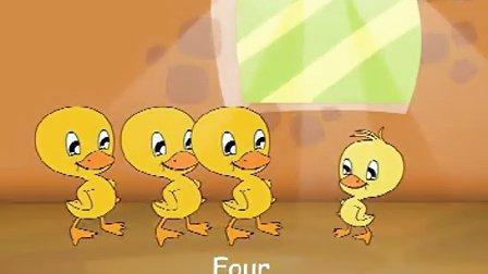 four little baby ducks