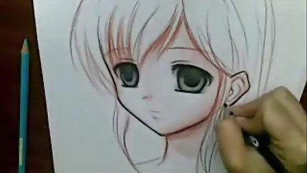 超强手绘漫画画法全过程--水彩铅笔画动漫人物画法