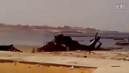 法军虎式武直降落并带走一面利比亚新政府旗帜