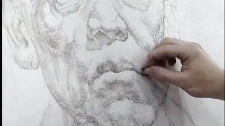 列宾美院-素描头像(男老年,正面,色粉,炭笔