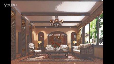 装饰公司 郑州装饰公司田园式家装样板房设计施工案例 视频