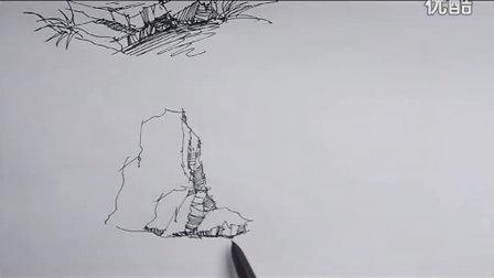 石头表现2 福州海派手绘 钢笔画 马克笔线稿 手绘教程
