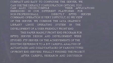 BFTPD服务器前端程序设计与开发论文,(范文,ASP,JAVA,ASP.NET,JSP,VB,毕业