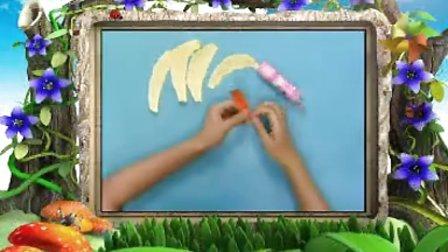 幼儿手工作品《趣味撕纸之香蕉》手工视频