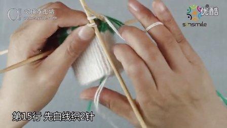 超甜美糖果色配色毛衣编织—绿色雪花手套