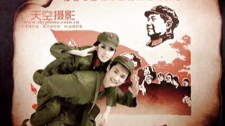 北京拍80后婚纱照风格-军装婚纱照-天空摄影60年代复古军装婚纱照www.skyphoto.com.cn