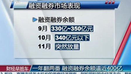 一年翻两番 融资融券余额逼近400亿 20111118 财经早班车