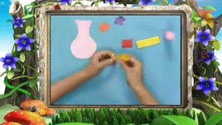 幼儿园手工制作《趣味撕纸之花瓶》手工视频
