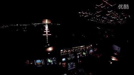 【童话国度】驾驶舱实拍空客A319夜晚降落丹麦哥本哈根