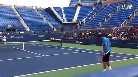 费德勒2011美网赛前训练视频