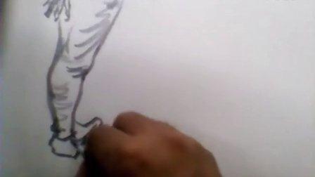 艺考教学 刘清路 速写 穿条纹格子衫的女青年 站姿 北京