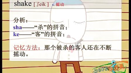 初二英语单词动画巧记shake电18607127010