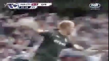 阿奎罗绝杀QPR时FOX解说员大声喊:Goal goal goal !!!!阿奎罗之歌
