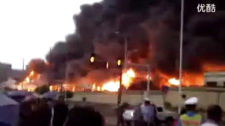 长沙望城区旺旺工厂起大火 惊现UFO  16至17秒  右上角两只黑圆形的不明飞形物