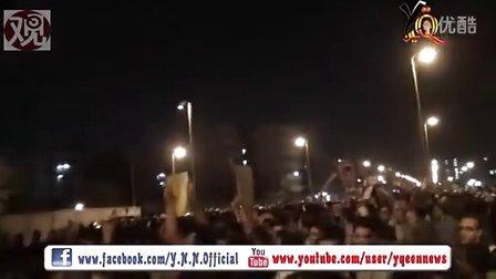 埃及总统穆尔西接见支持者时被包围