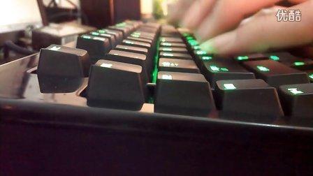 雷蛇黑寡妇终极版绿光机械键盘青轴按键声音演示视频