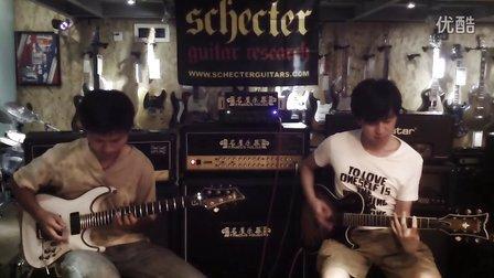 管制乐队吉他手为schecter吉他演示2。