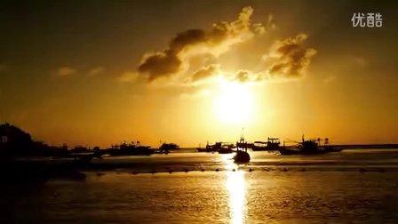 龟岛海滩上的日落