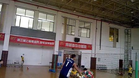 教练抛球三号位后排扣球基础训练