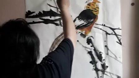 宋鲁民画锦鸡紫藤视频