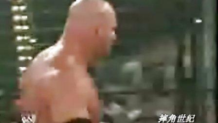 WWE HHH被高伯吓得不敢出笼【六人铁笼赛】