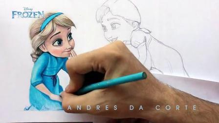 【猴姆独家】惟妙惟肖!牛人手绘《冰雪奇缘》Elsa女王和安娜公主