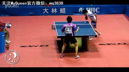 乒乓球神人自创新动作 潇洒转体背身扣杀_高清