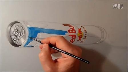 会画画吗?用这个恶作剧吧。Drawing 3D Levitating Red Bull Can