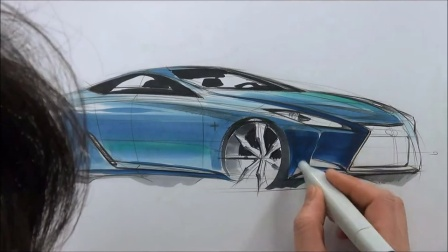 4 car sketch and marker technique