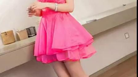 韩国VIVI杂志款名媛V领无袖连衣裙 层层欧根纱荷叶边高腰蓬蓬裙子