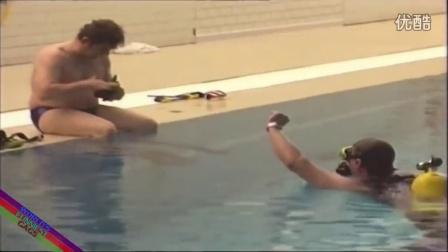 【粉红豹】外国超强搞笑整人恶作剧:美女一丝不挂地跳进水池了!