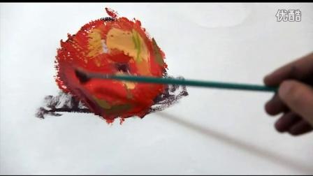 雅途万能色(太神奇了,不用调色色彩还能画这么好)单体塑造红苹果
