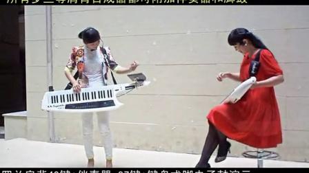 双罗兰电子琴合成器扩手风琴式双排三排键脚电子鼓弹唱蓝色的蒙古高原