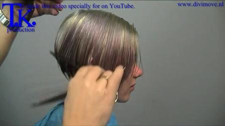 Blue BOB haircut for Jenny