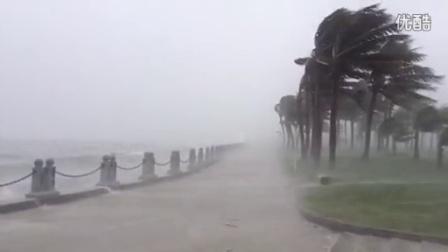 追击台风海鸥——9月16日上午10时湛江市观海长廊风雨大作