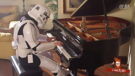 Storm Trooper Plays Cantina Band Music from Star Wars