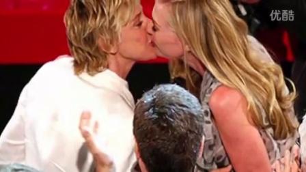 Ellen DeGeneres's kisses Portia艾伦和老婆的吻