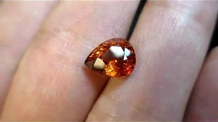 纯天然芬达石桔红色锰铝榴石2.90克拉梨形宝石裸石戒指戒面