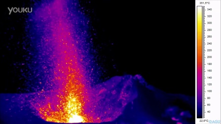 Thermal Images of Lava Spewing From an Erupting Volcano