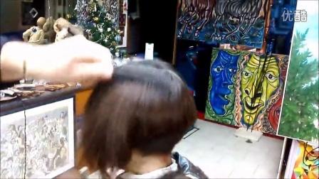 Girl's nape BOB haircut by scissors