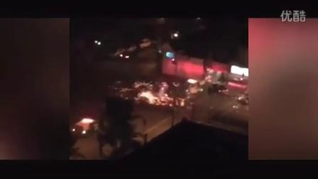 实拍圣地亚哥直升机被消防车撞断尾翼旋转爆炸