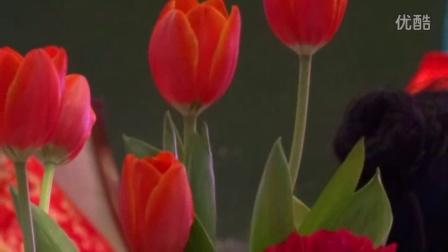 婚宴餐桌独特的盘花造型玫瑰花扇子独具中国风