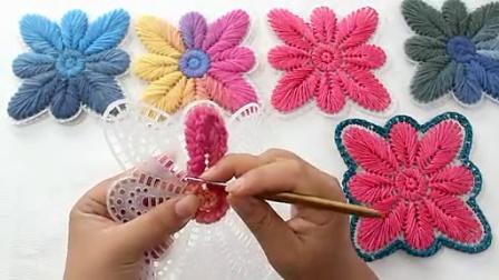 温暖你心毛线店 蝴蝶片的钩法 钩包坐垫的做法 手工编织沙发垫DIY钩编教程