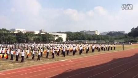 鄂州职业大学2014新生军训之旗语连