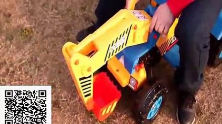 电动儿童挖掘机可坐可骑 挖土机推土机 大型脚踏工程车玩具车